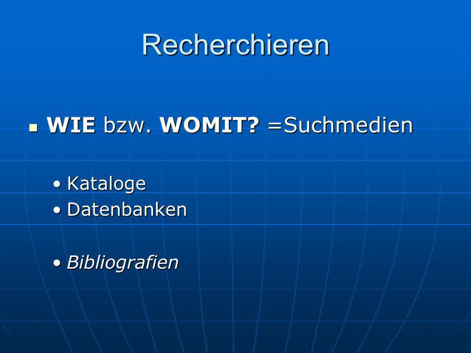 Recherchieren WIE bzw. WOMIT =Suchmedien Kataloge Datenbanken
