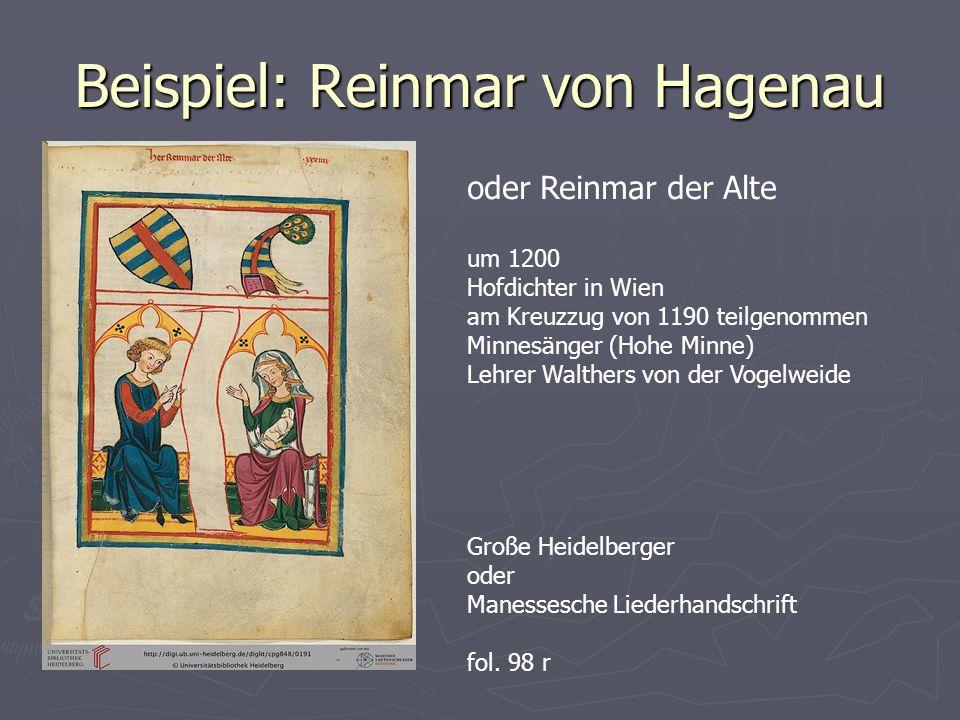 Beispiel: Reinmar von Hagenau