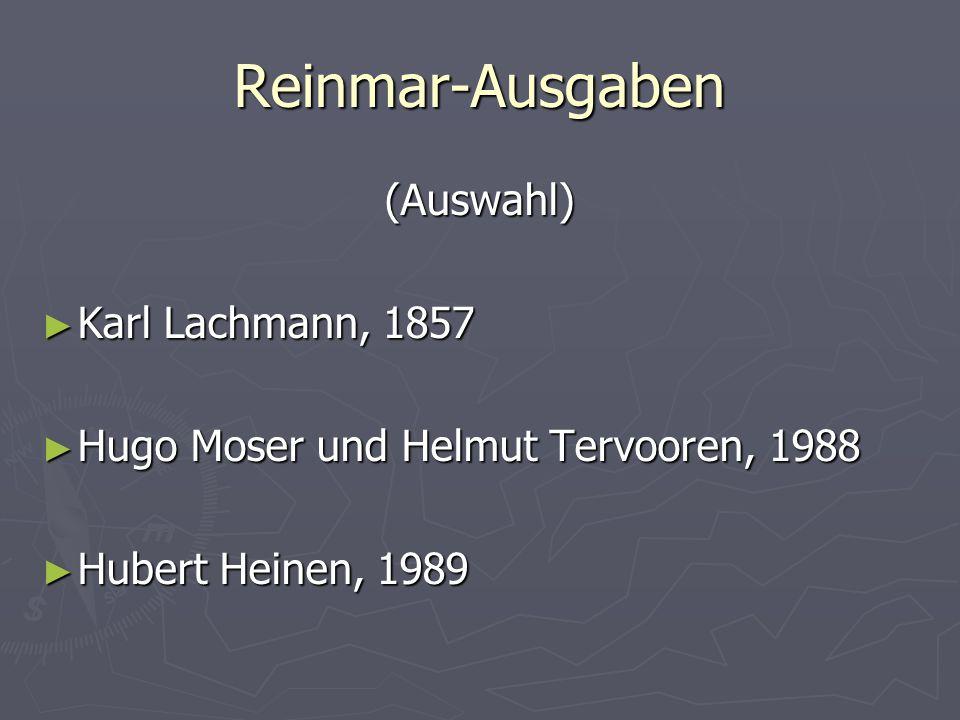 Reinmar-Ausgaben (Auswahl) Karl Lachmann, 1857