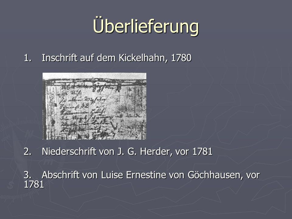 Überlieferung 1. Inschrift auf dem Kickelhahn, 1780