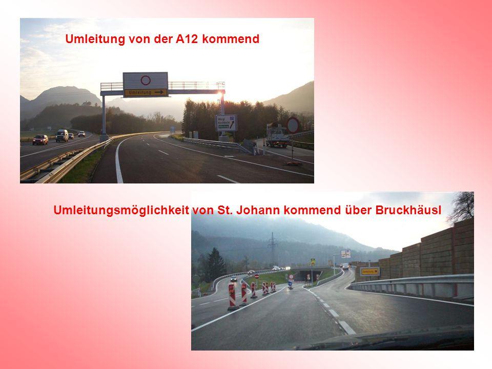 Umleitung von der A12 kommend