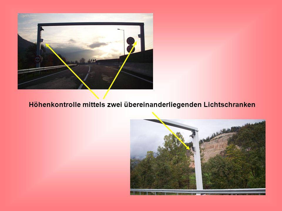 Höhenkontrolle mittels zwei übereinanderliegenden Lichtschranken