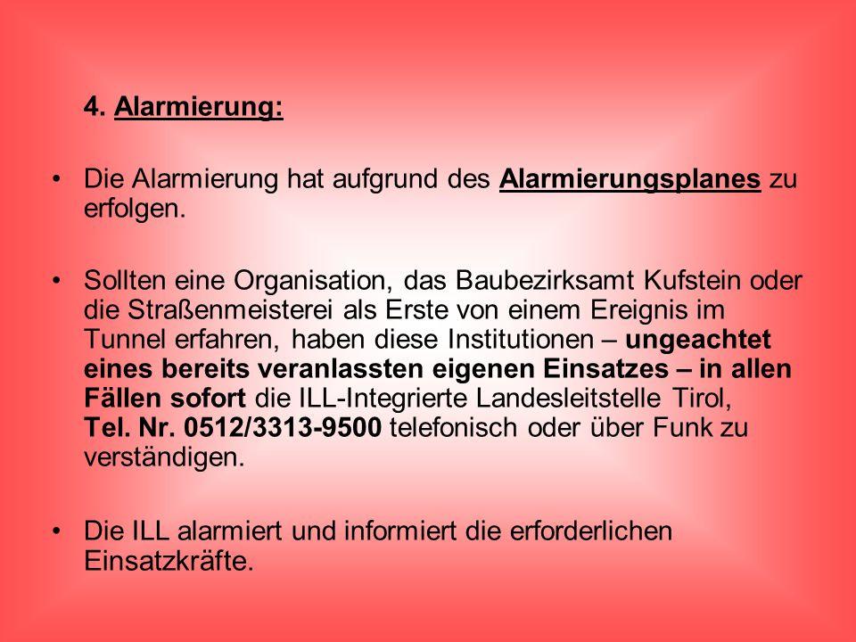 4. Alarmierung: Die Alarmierung hat aufgrund des Alarmierungsplanes zu erfolgen.