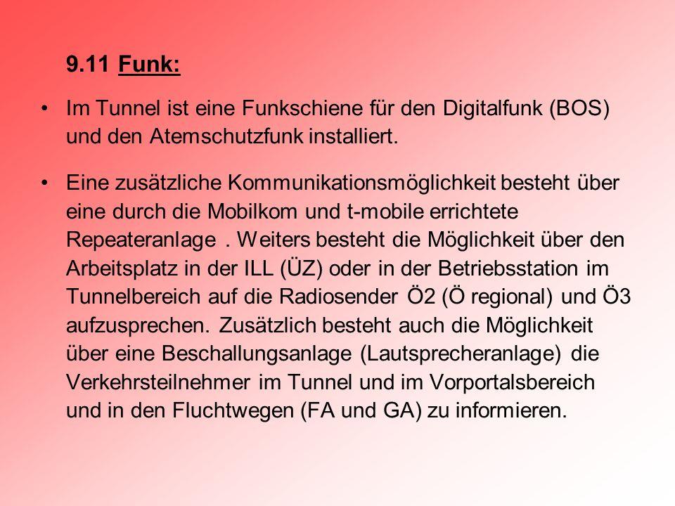9.11 Funk: Im Tunnel ist eine Funkschiene für den Digitalfunk (BOS) und den Atemschutzfunk installiert.