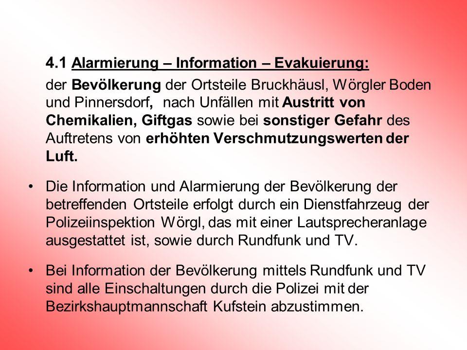 4.1 Alarmierung – Information – Evakuierung: