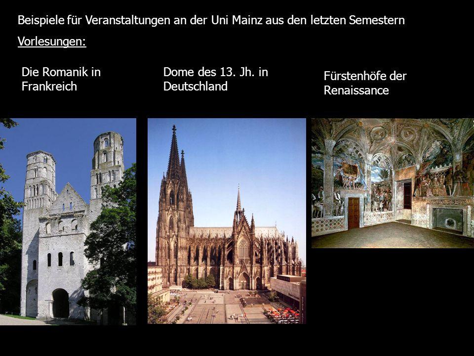 Beispiele für Veranstaltungen an der Uni Mainz aus den letzten Semestern