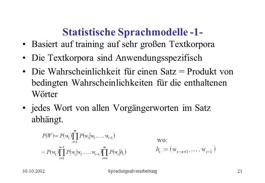 Statistische Sprachmodelle -1-