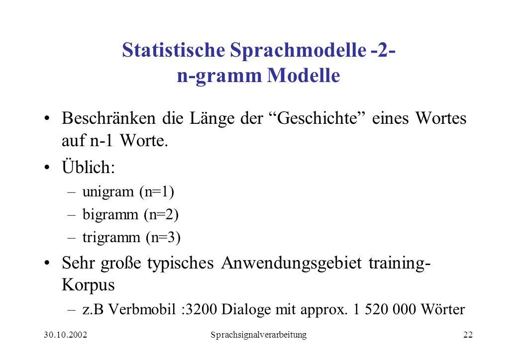 Statistische Sprachmodelle -2- n-gramm Modelle