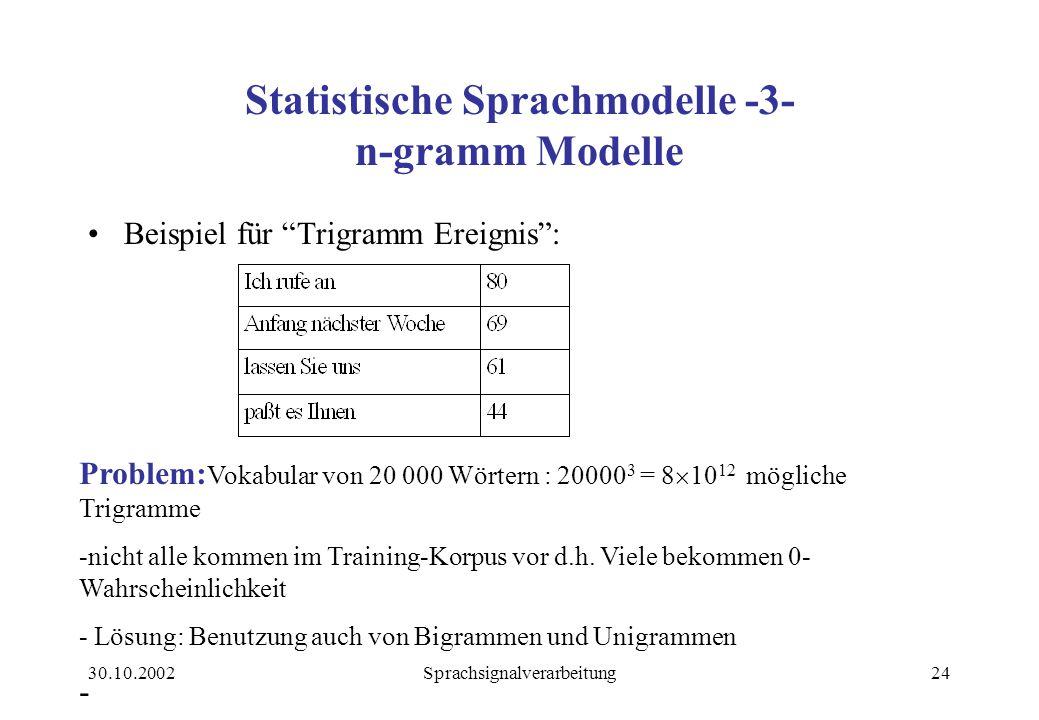 Statistische Sprachmodelle -3- n-gramm Modelle