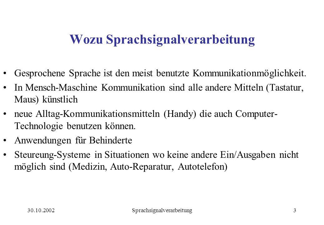 Wozu Sprachsignalverarbeitung