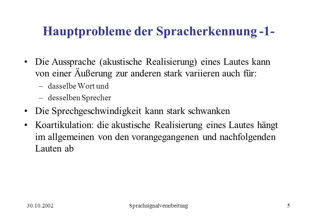 Hauptprobleme der Spracherkennung -1-