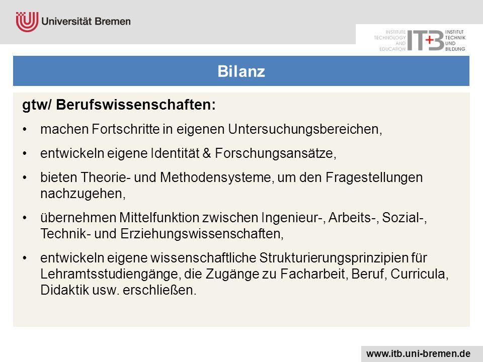 Bilanz gtw/ Berufswissenschaften: