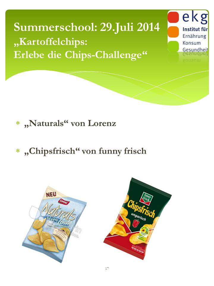 """Summerschool: 29.Juli 2014 """"Kartoffelchips: Erlebe die Chips-Challenge"""