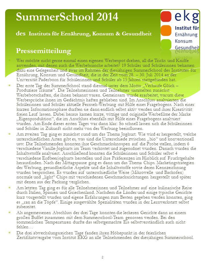 SummerSchool 2014 des Instituts für Ernährung, Konsum & Gesundheit Pressemitteilung