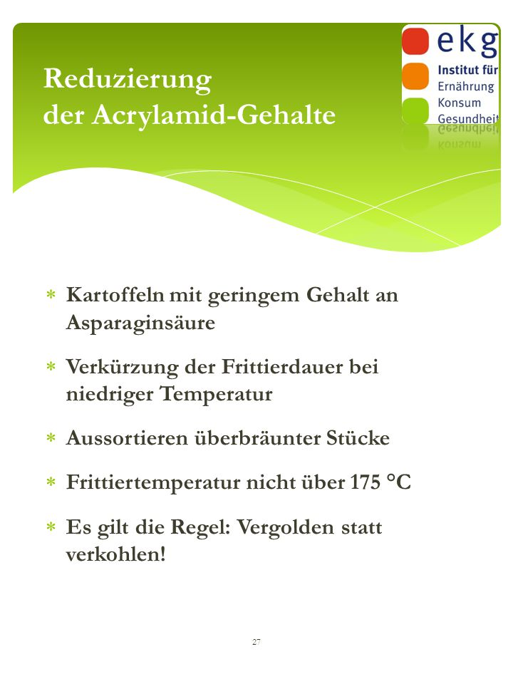 Reduzierung der Acrylamid-Gehalte