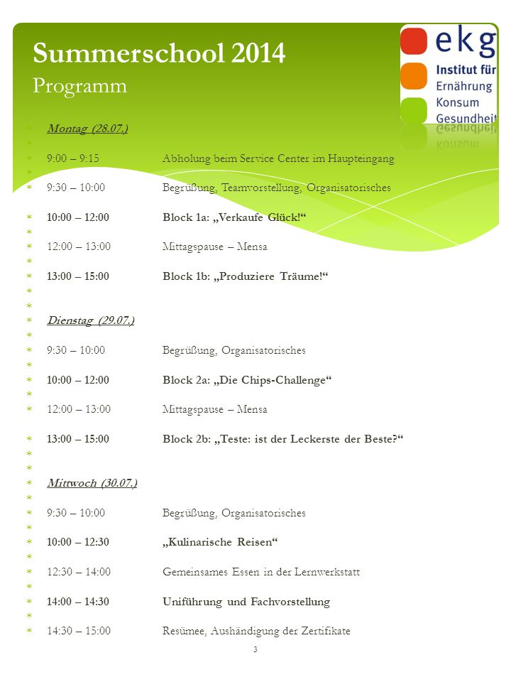 Summerschool 2014 Programm