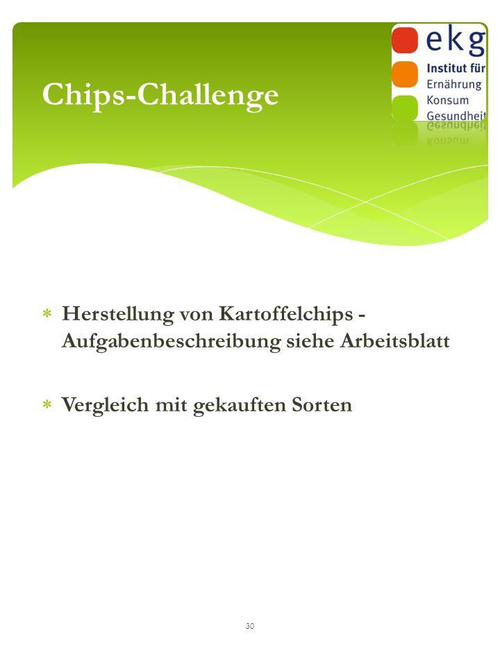 Chips-Challenge Herstellung von Kartoffelchips - Aufgabenbeschreibung siehe Arbeitsblatt.