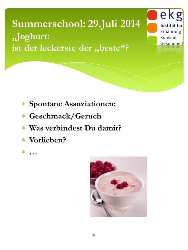 """Summerschool: 29.Juli 2014 """"Joghurt: ist der leckerste der """"beste"""