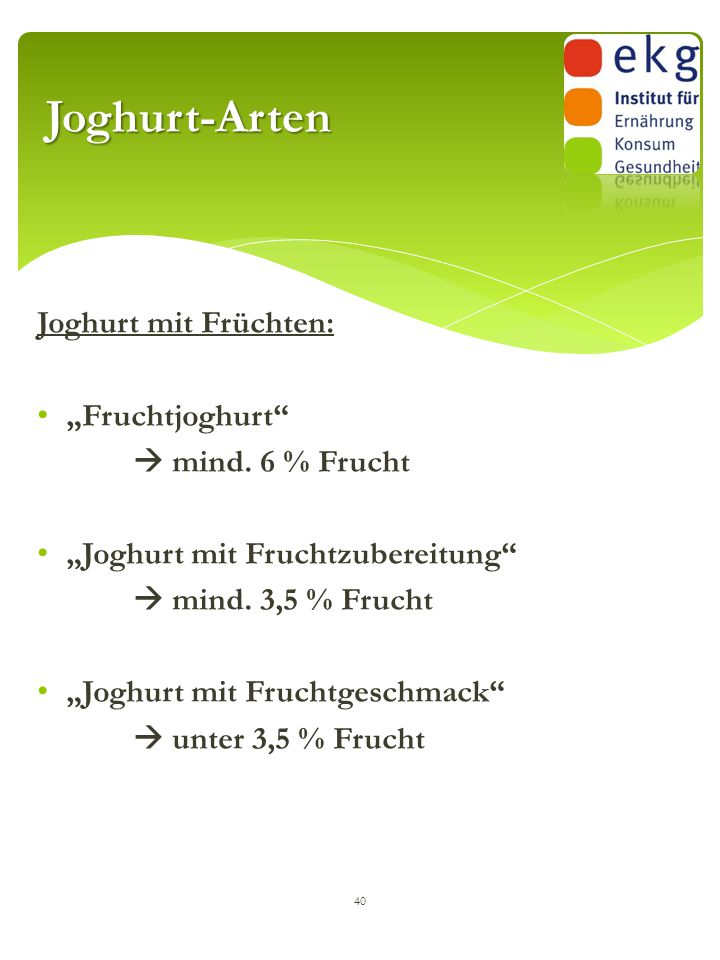 """Joghurt-Arten Joghurt mit Früchten: """"Fruchtjoghurt  mind. 6 % Frucht"""