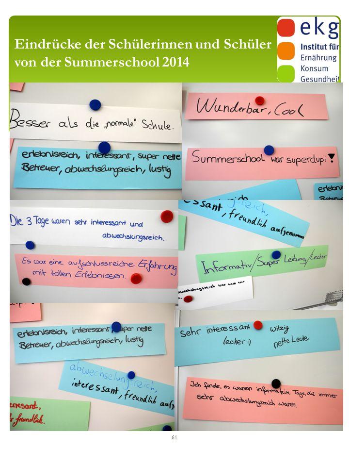 Eindrücke der Schülerinnen und Schüler von der Summerschool 2014