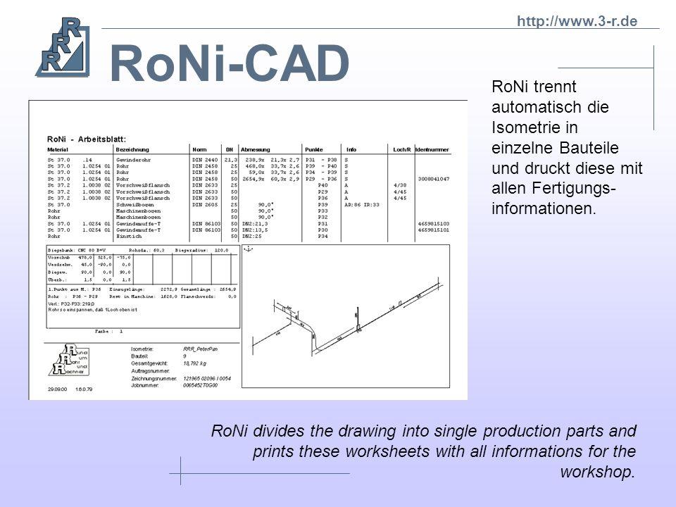 RoNi-CAD RoNi trennt automatisch die Isometrie in einzelne Bauteile