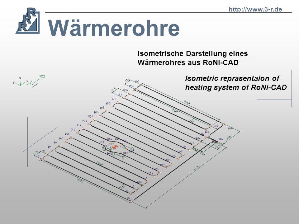 Wärmerohre Isometrische Darstellung eines Wärmerohres aus RoNi-CAD