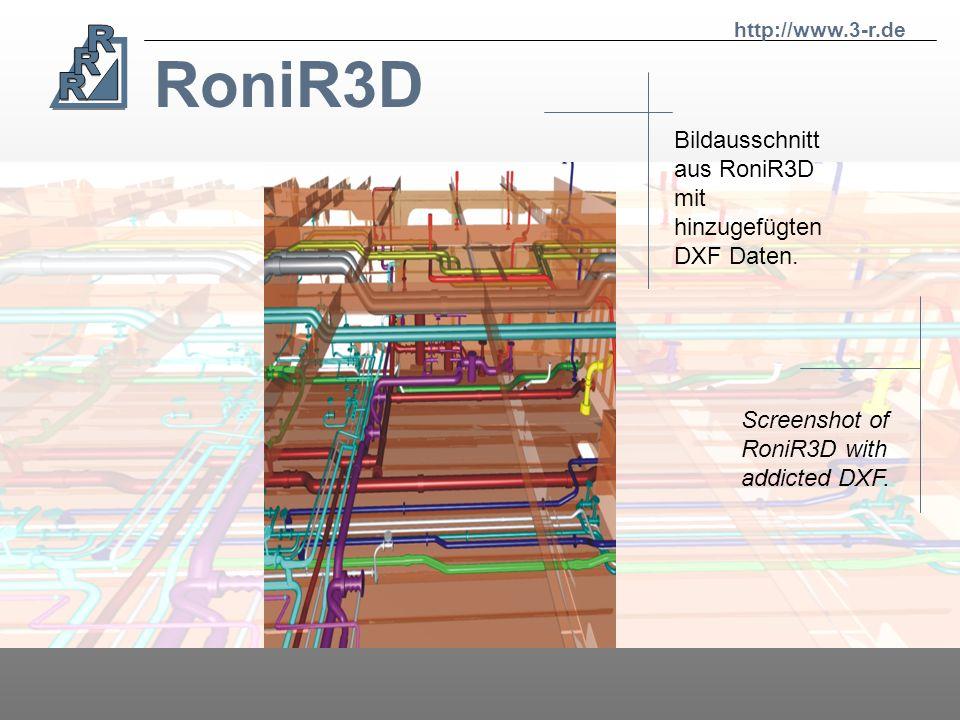RoniR3D Bildausschnitt aus RoniR3D mit hinzugefügten DXF Daten.