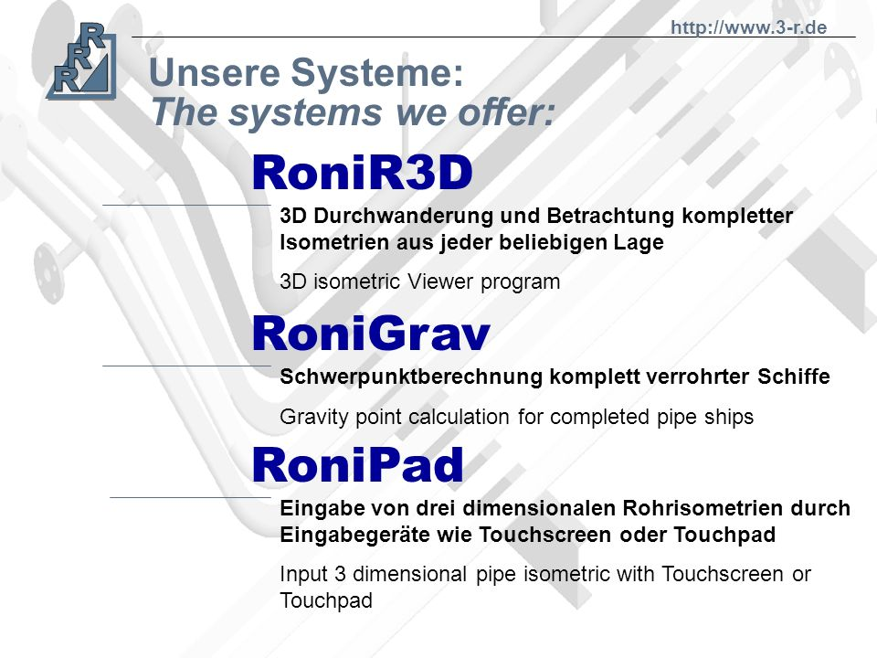 RoniR3D RoniGrav RoniPad Unsere Systeme: The systems we offer: