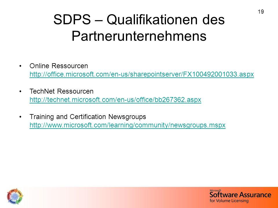 SDPS – Qualifikationen des Partnerunternehmens