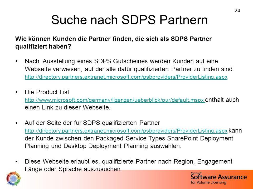 Suche nach SDPS Partnern