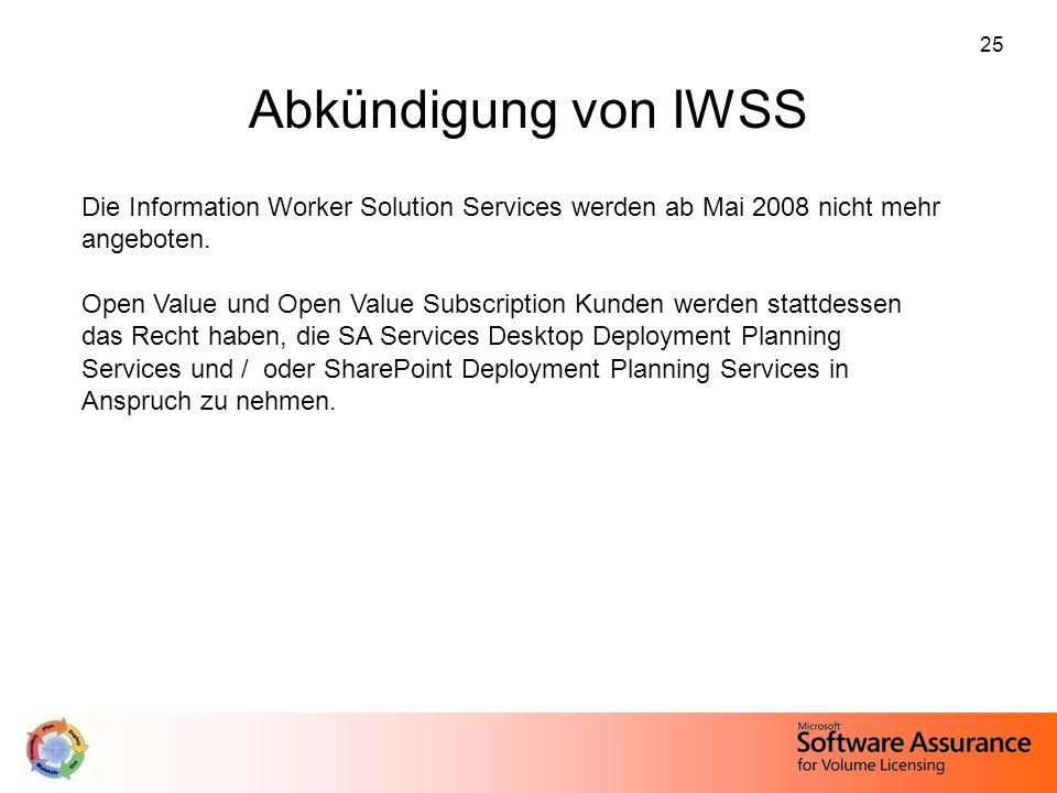 Abkündigung von IWSS Die Information Worker Solution Services werden ab Mai 2008 nicht mehr angeboten.