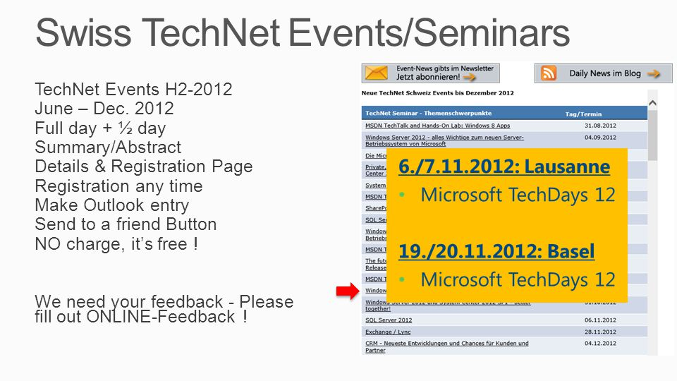 Swiss TechNet Events/Seminars