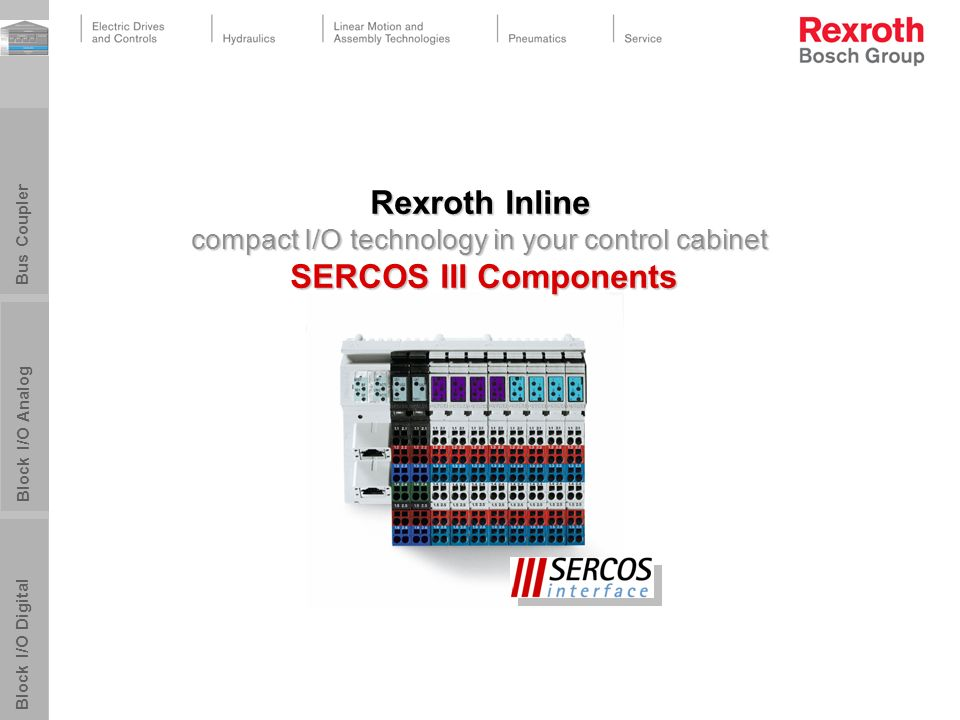 PPTmaster_BRC_050128.pot25.03.2017. Rexroth Inline compact I/O technology in your control cabinet SERCOS III Components.