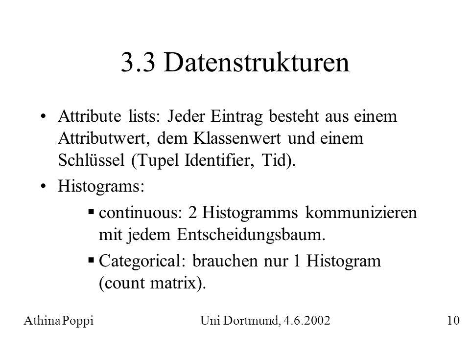 3.3 Datenstrukturen Attribute lists: Jeder Eintrag besteht aus einem Attributwert, dem Klassenwert und einem Schlüssel (Tupel Identifier, Tid).