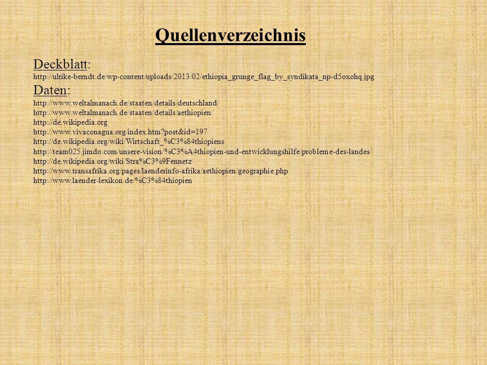 Quellenverzeichnis Deckblatt: Daten: