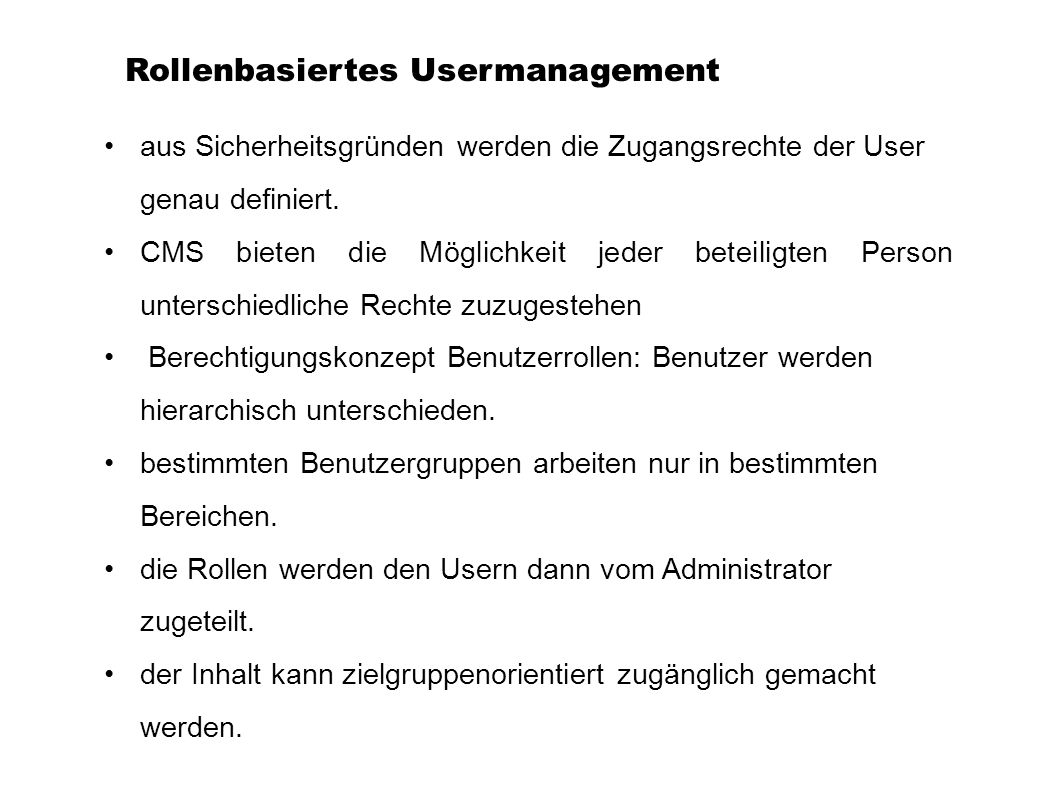 Rollenbasiertes Usermanagement