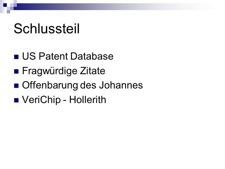 Schlussteil US Patent Database Fragwürdige Zitate