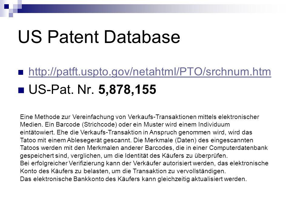 US Patent Database US-Pat. Nr. 5,878,155