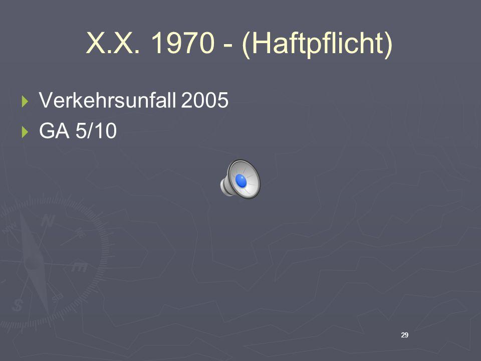 X.X. 1970 - (Haftpflicht) Verkehrsunfall 2005 GA 5/10 29