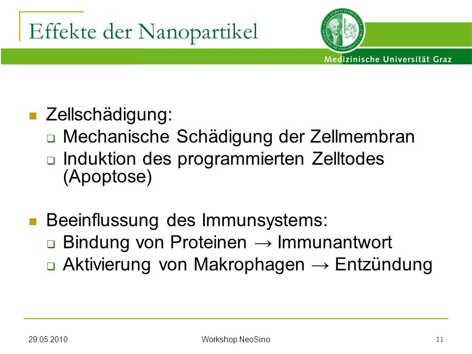 Effekte der Nanopartikel