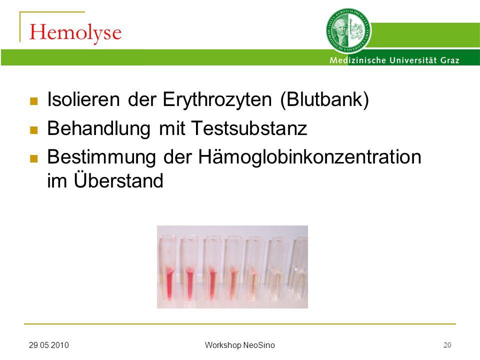 Hemolyse Isolieren der Erythrozyten (Blutbank)
