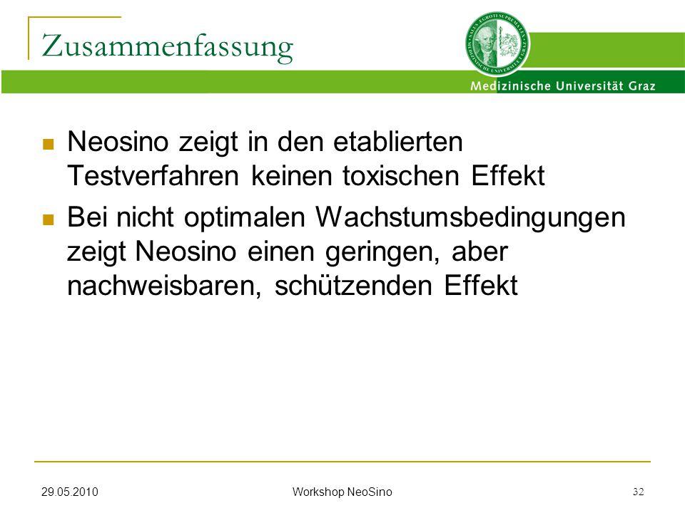 Zusammenfassung Neosino zeigt in den etablierten Testverfahren keinen toxischen Effekt.