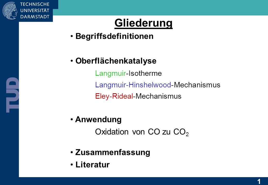 Gliederung Begriffsdefinitionen Oberflächenkatalyse Langmuir-Isotherme