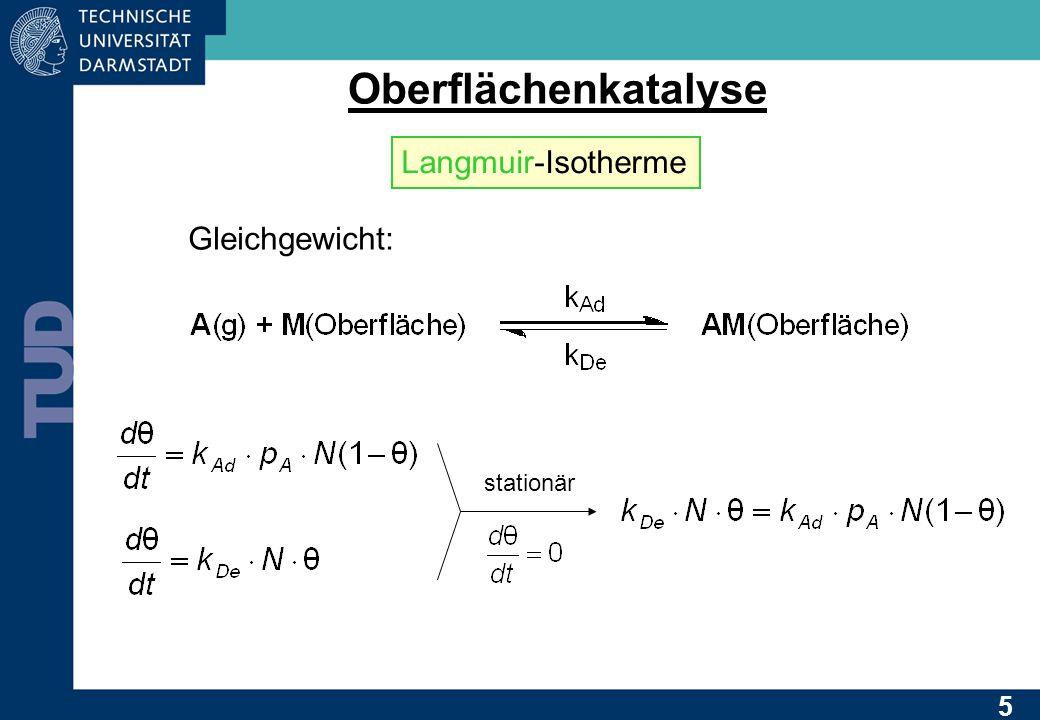 Oberflächenkatalyse Langmuir-Isotherme Gleichgewicht: stationär 5