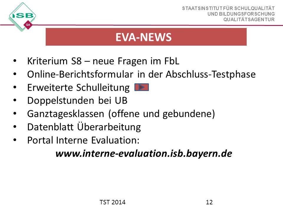 EVA-NEWS Kriterium S8 – neue Fragen im FbL