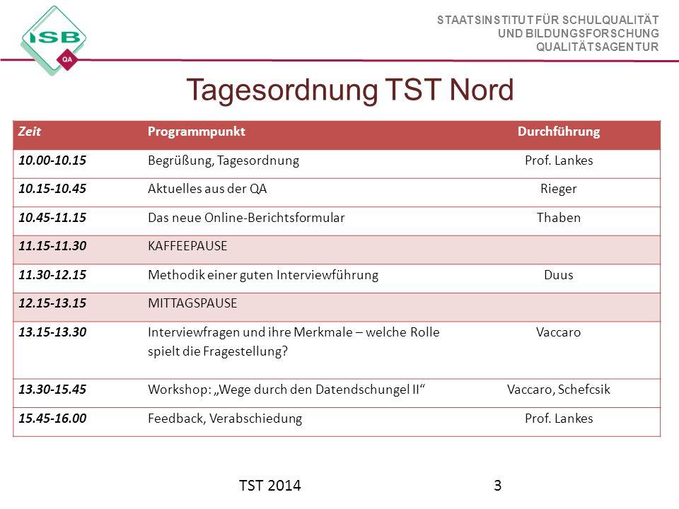 Tagesordnung TST Nord TST 2014 Zeit Programmpunkt Durchführung