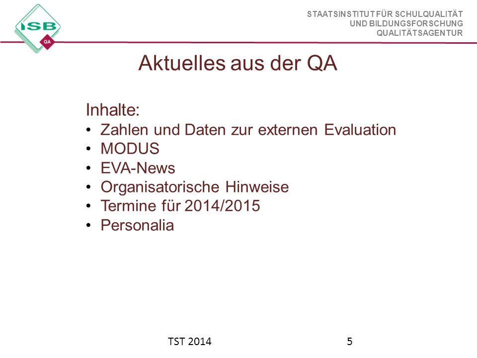 Aktuelles aus der QA Inhalte: Zahlen und Daten zur externen Evaluation