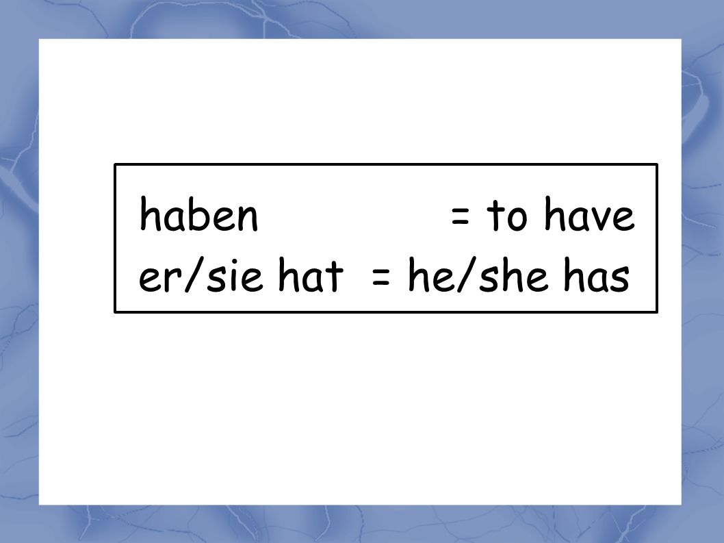 haben = to have er/sie hat = he/she has