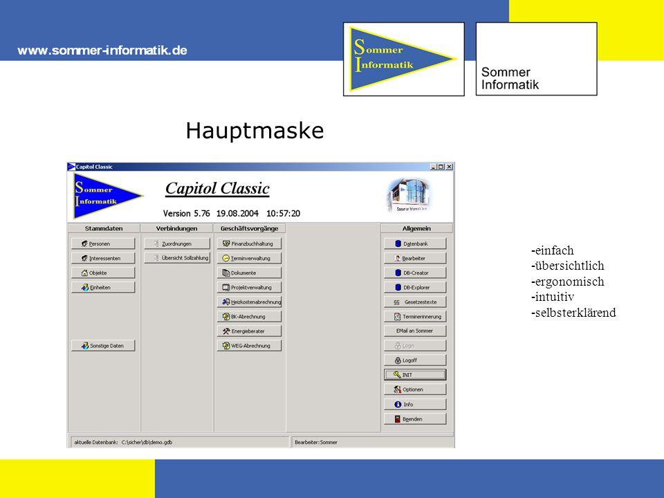 Hauptmaske -einfach -übersichtlich -ergonomisch -intuitiv