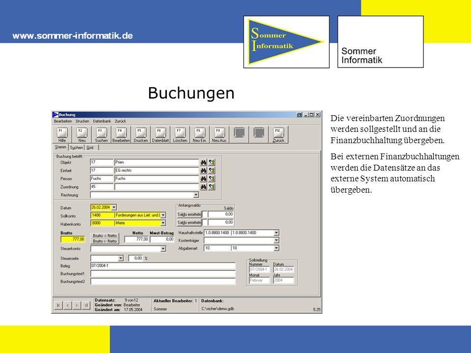 Buchungen Die vereinbarten Zuordnungen werden sollgestellt und an die Finanzbuchhaltung übergeben.